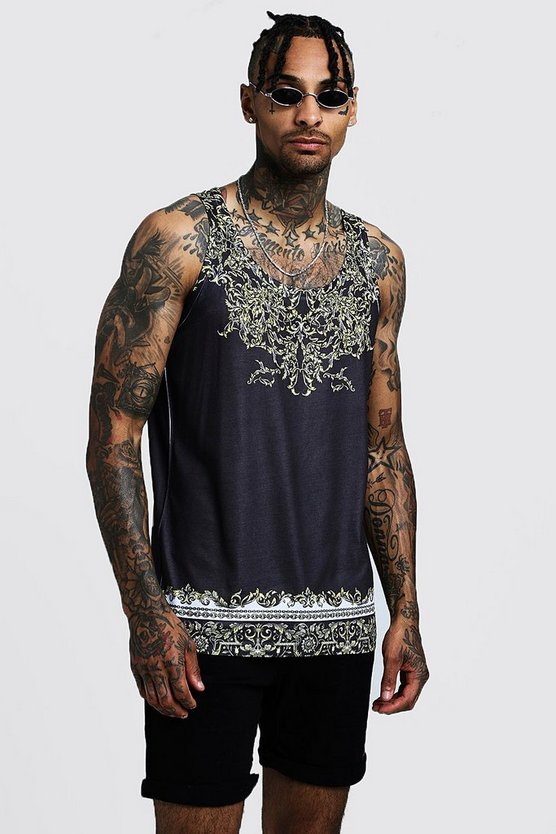 Mens Black Baroque Design Vest