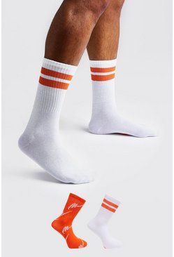 Lot de deux paires de chaussettes inscription MAN, Orange, Homme