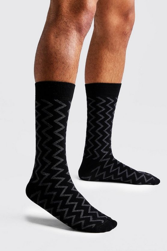 Mens Black Zig Zag Knit Sock