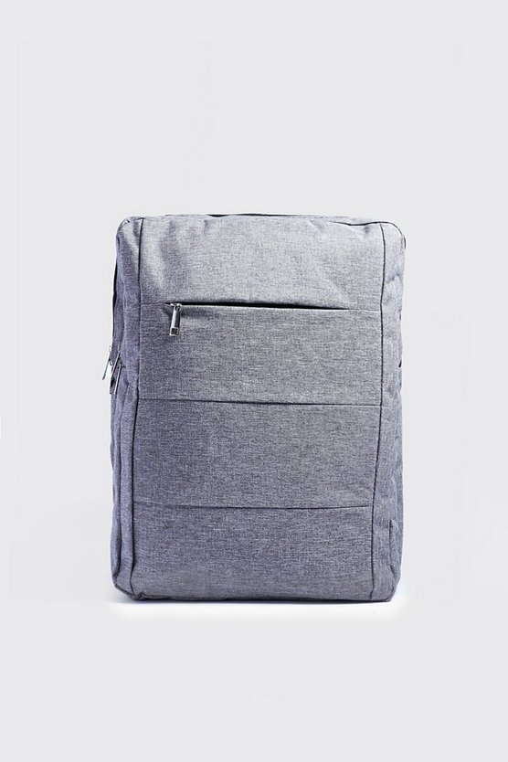 Mens Grey Front Panel Backpack