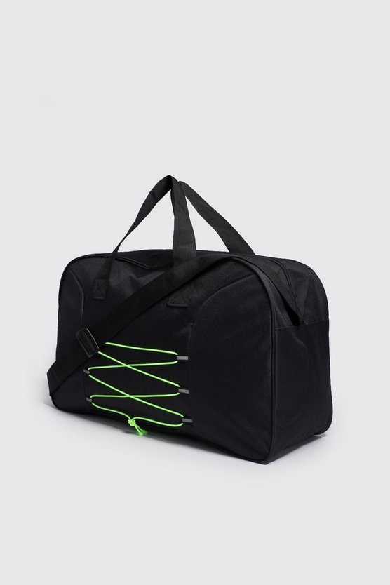 Mens Neon-green Reflective Tab Neon Cord Detail Holdall
