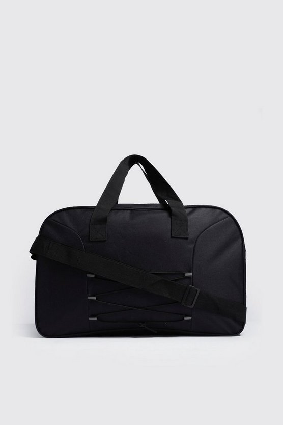 Mens Black Reflective Tab Cord Detail Holdall