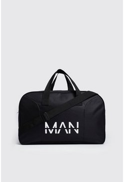 Black MAN Branded Nylon Holdall