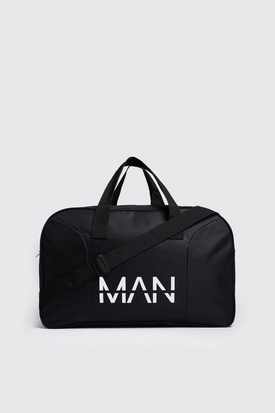 Mens Black MAN Branded Nylon Holdall