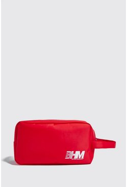 Red MAN Print Washbag