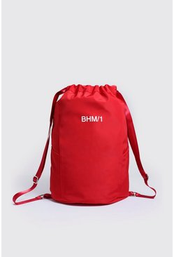 Mens Red MAN Drawstring Backpack