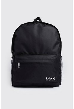 Black Nylon Backpack With MAN Print