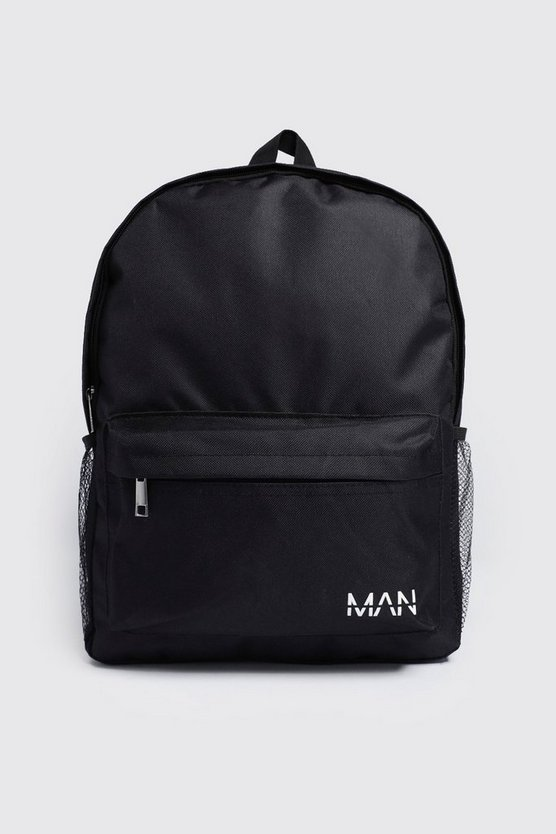Mens Black Nylon Backpack With MAN Print