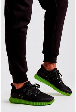 Mens Black Translucent Sole Knitted Trainer