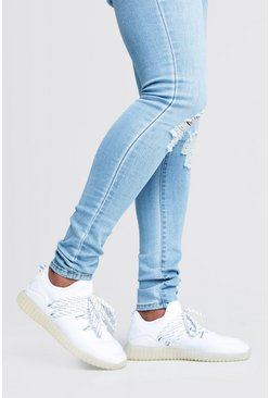 White Translucent Sole Knitted Sneakers