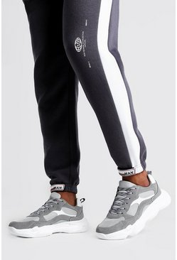 Grey Reflective Wave Sole Chunky Sneakers