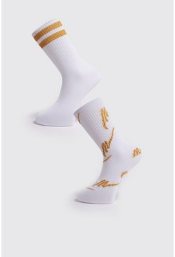 Mens White 2 Pack MAN Gold Socks