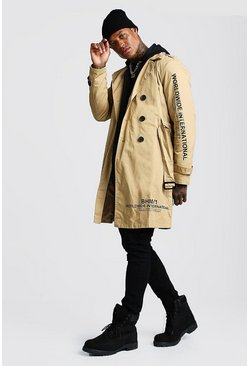 Mens Camel Trench Coat With Print Detail