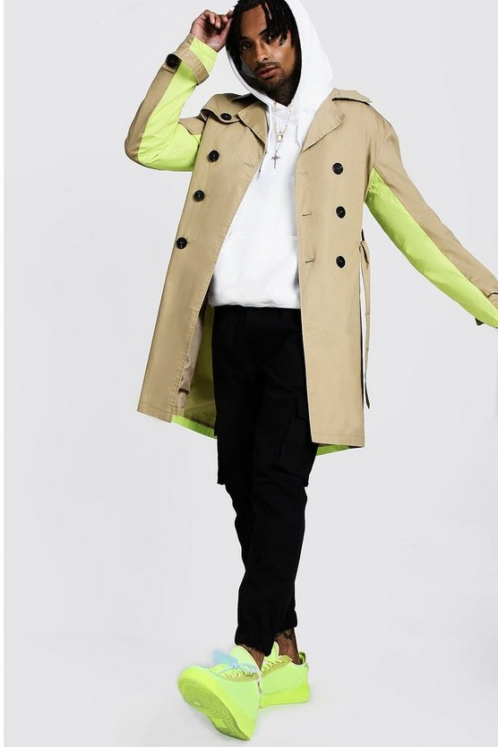 Mens Camel Trench Coat With Contrast Colour