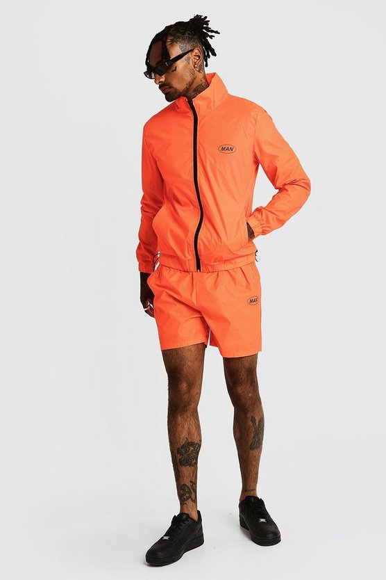 Mens Neon-orange MAN Reflective Cagoule & Short Set