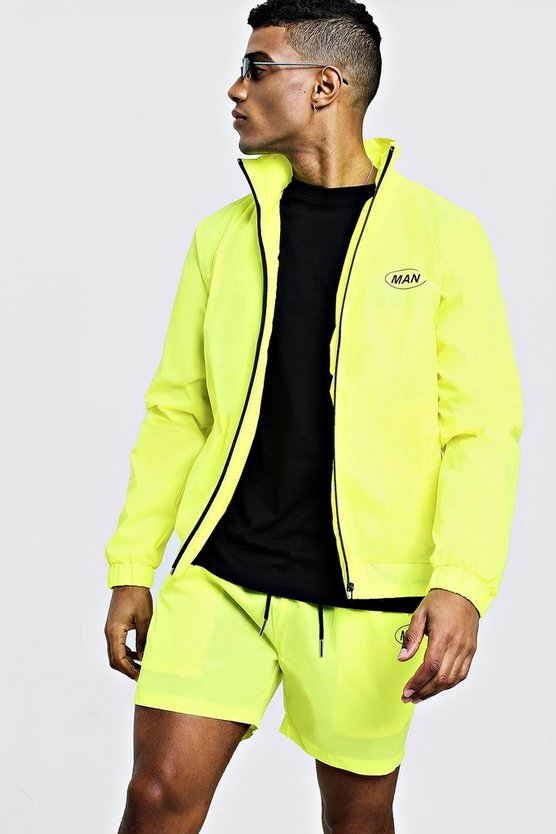 Mens Neon-yellow MAN Neon Cagoule & Shorts Set