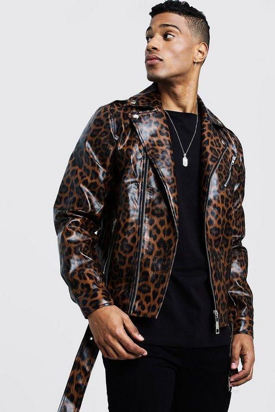 Faux Leather Biker Jacket In Leopard Print by Boohoo Man