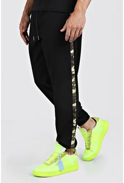 Mens Black Cuffed Pants With Camo Side Panel