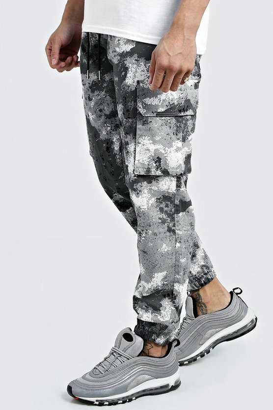Mens Grey Camo Cargo Trousers