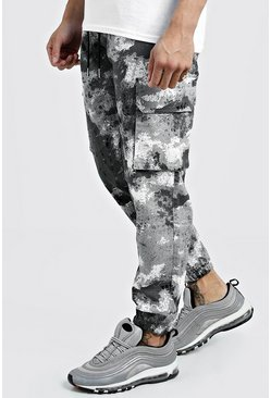 Mens Grey Camo Cargo Pants