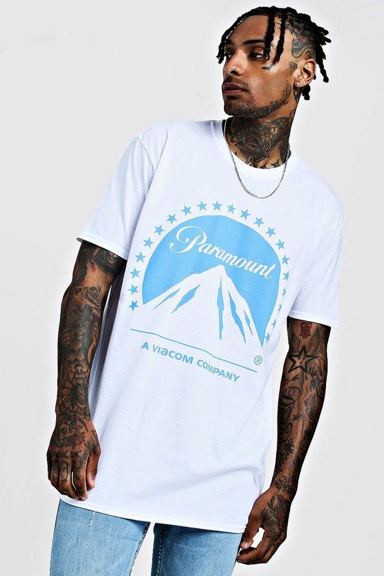 Mens White Paramount License Oversized T-Shirt