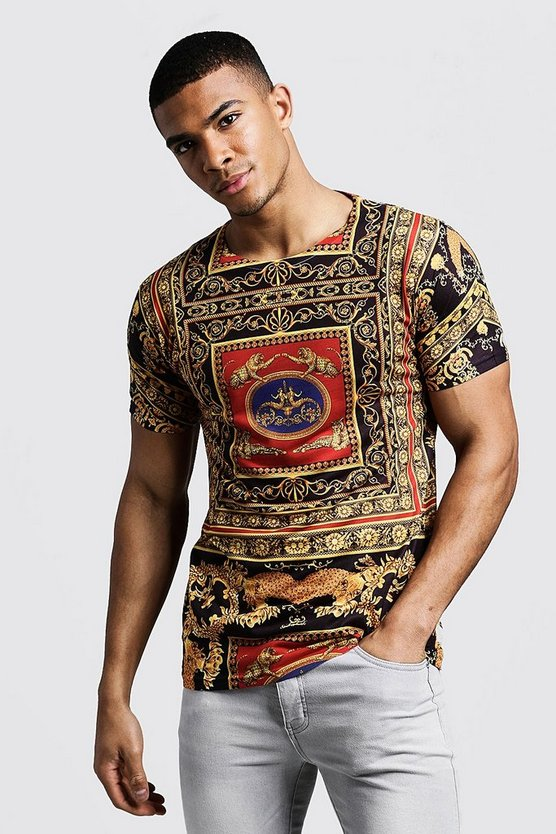 Mens Gold Regal Baroque Design T-Shirt