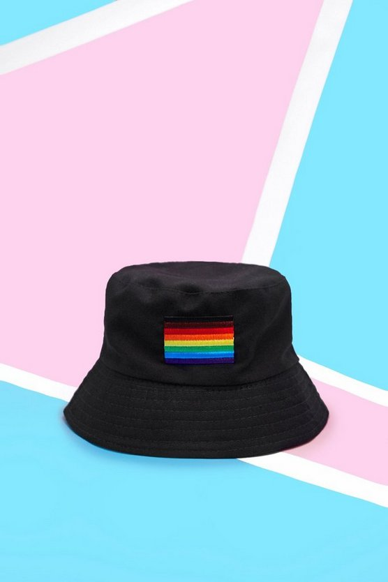Mens Black Pride Bucket Hat With Rainbow Flag Embroidery