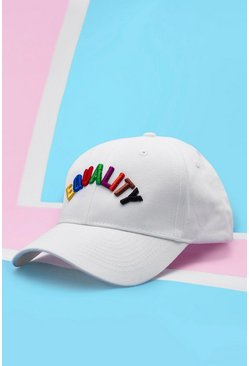 Mens White Pride Cap With 3D Equality Embroidery