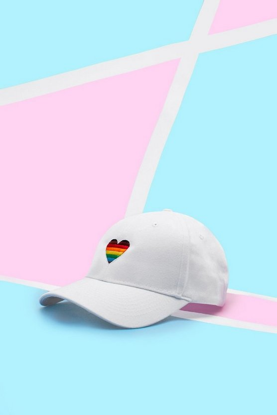 Mens White Pride Cap With Rainbow Heart Embroidery