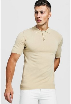 Camel Regular Short Sleeve Knitted Polo