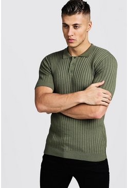 Mens Khaki Muscle Fit Ribbed Knitted Polo