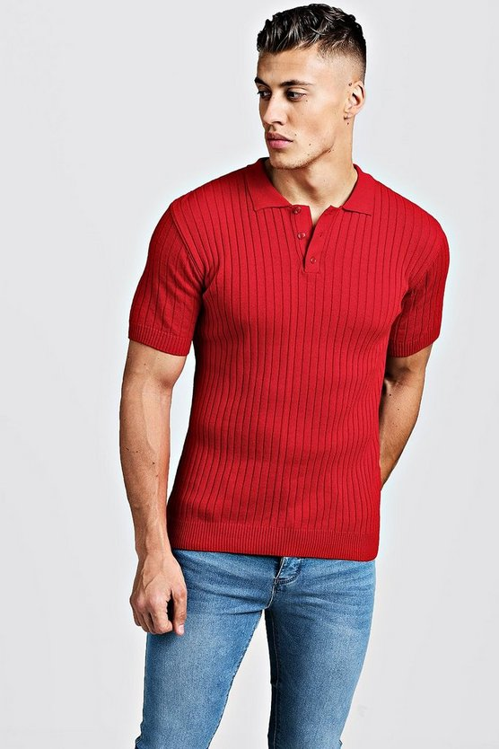 Mens Red Muscle Fit Ribbed Knitted Polo