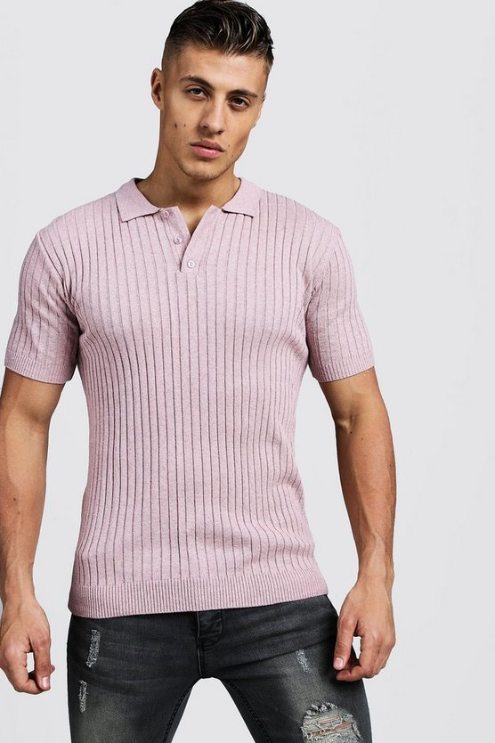 Mens Dusky pink Muscle Fit Ribbed Knitted Polo