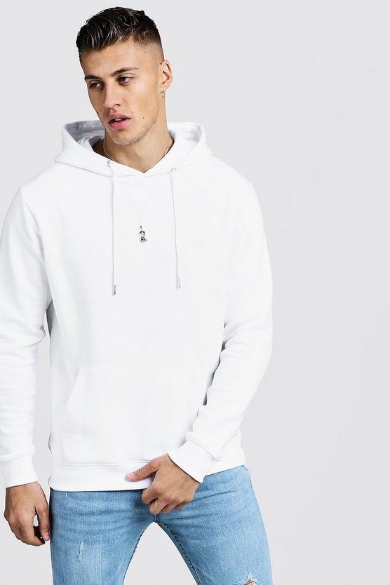 Mens White Basic Over the Head Fleece Hoodie