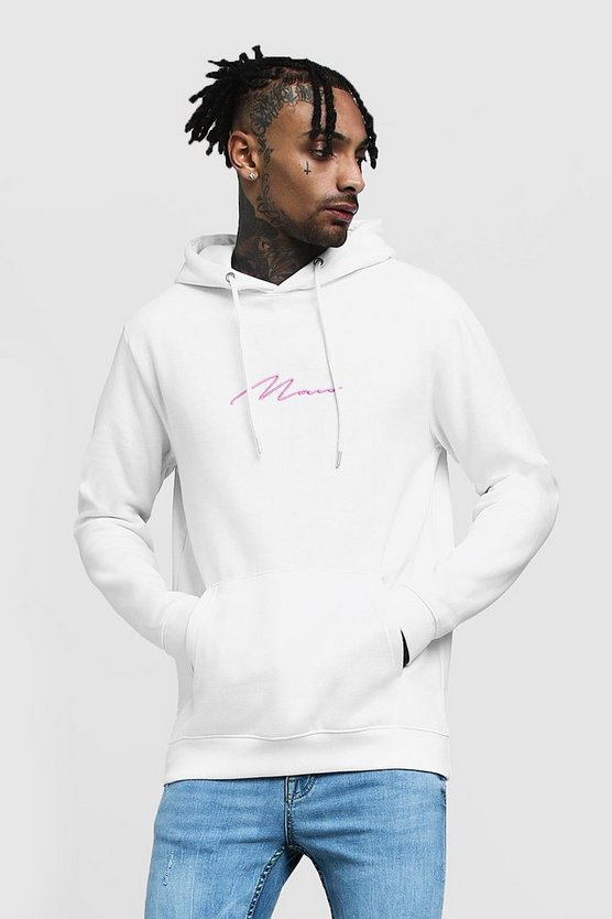 Mens White MAN Signature Embroidered Hoodie