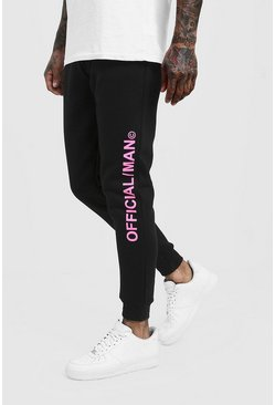 Mens Black MAN Official Skinny Fit Joggers