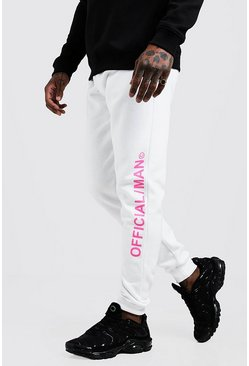 Mens White MAN Official Skinny Fit Joggers