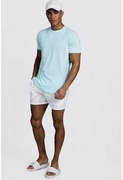 Mens Aqua MAN Reflective Print T-Shirt & Swim Short Set