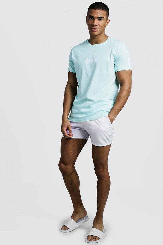 Mens Aqua MAN Print T-Shirt & Swim Short Set