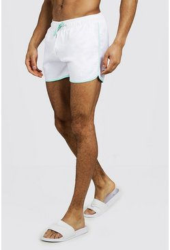 Mens White MAN Swim Short With Contrast Piping