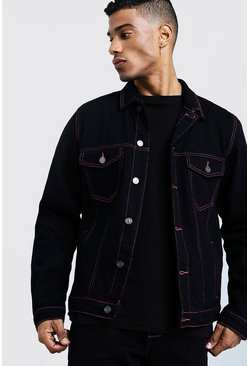 Mens Black Denim Jacket With Contrast Neon Topstitch