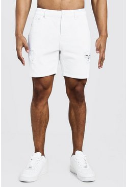 Mens White Slim Fit Denim Shorts With Snakeskin Tape Detail