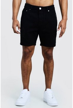 Mens Black Slim Fit Denim Shorts With Snakeskin Tape Detail