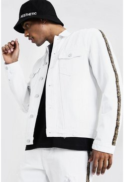 Mens White Denim Jacket With Snakeskin Tape Detail