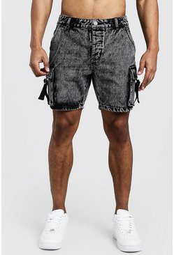 Mens Washed black Slim Fit Utility Cargo Denim Shorts