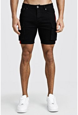 Mens Black Skinny Fit Cargo Denim Shorts With Side Tape