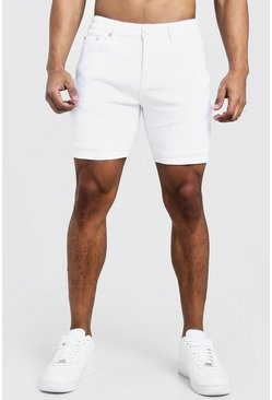 White Skinny Fit Denim Shorts With Biker Panelling