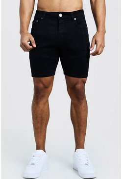 Short skinny en denim à empiècements motard, Noir