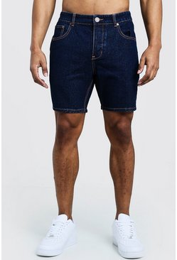 Indigo Slim Fit Jean Shorts With Contrast Stitch