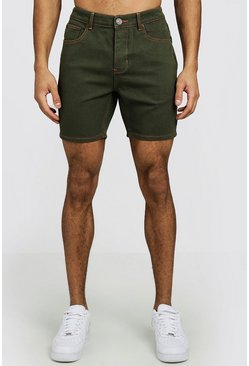 Mens Khaki Slim Fit Denim Shorts With Contrast Stitch